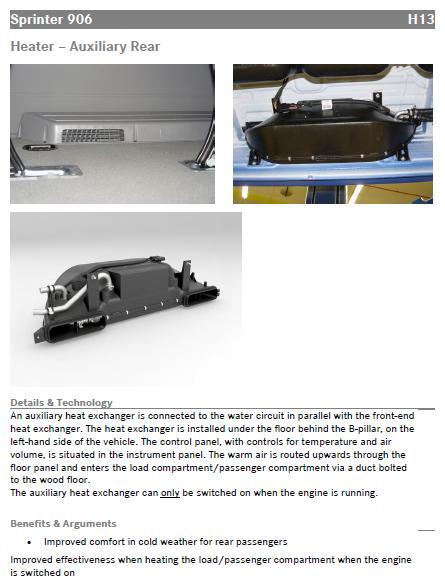 H13 Auxiliary rear heater