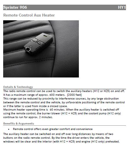 HY1 aux heater remote control