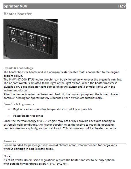 HZ9 heater booster