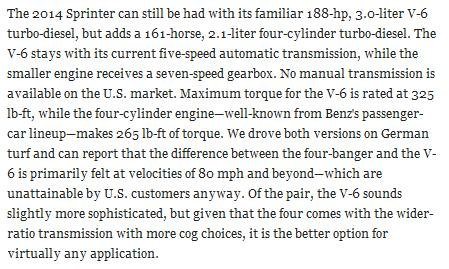 Quote from recent Car & Driver about 4 cyl Sprinter van