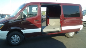 red van left side