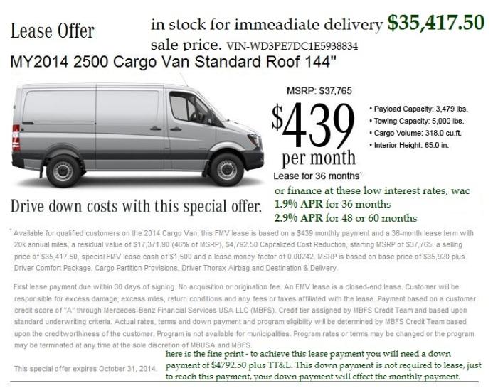 Sprinter Lease Offer October 2014