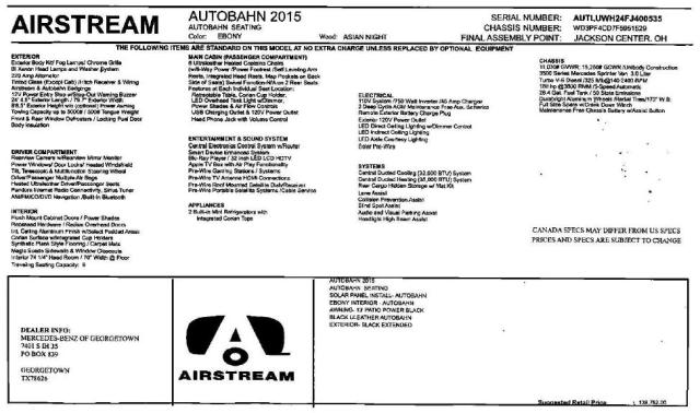 2015 Airstream Autobahn MSRP label