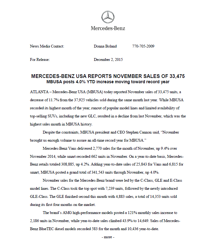 Nov sales record for MBUSA pg 1
