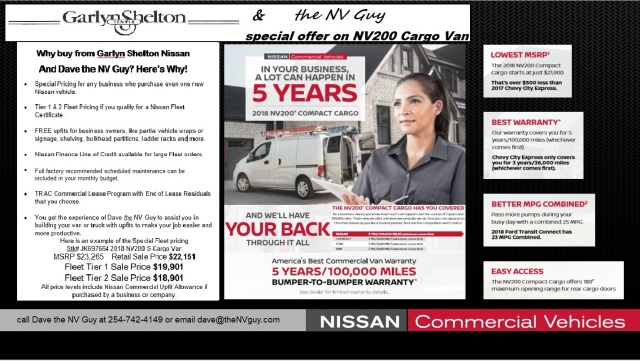 NV200 special offer flyer