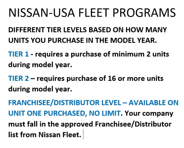 NISSAN FLEET PROGRAMS