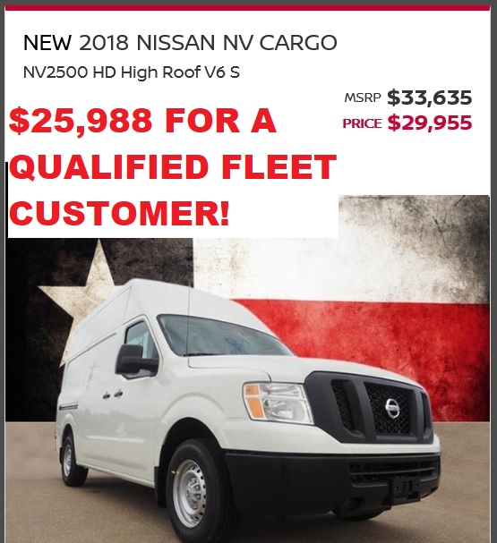 2018 NV2500 SALE PRICE