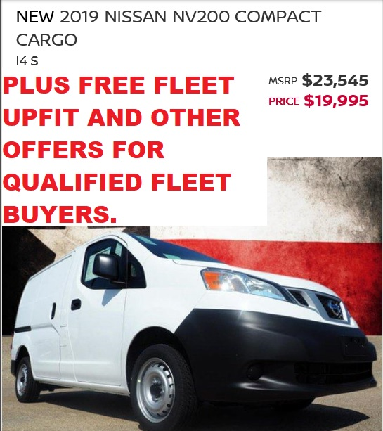 2019 NV200 DEC SALE PRICE